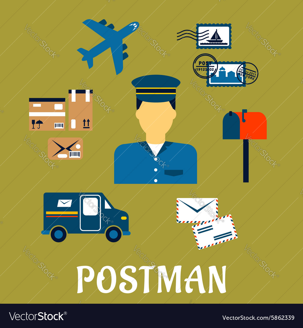 Flat postal icons around a Postman