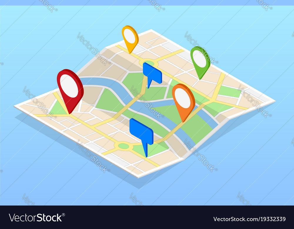 Isometric city navigation map with pins or gps map