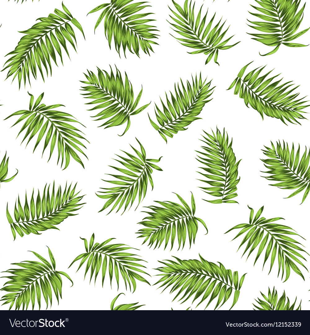 Loose seamless jungle forest greenery pattern vector image
