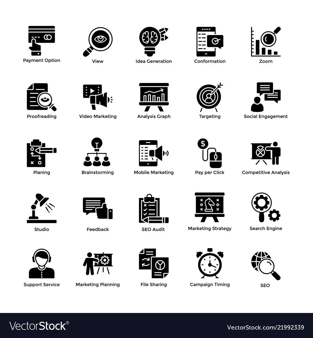 Market and economic glyph icons