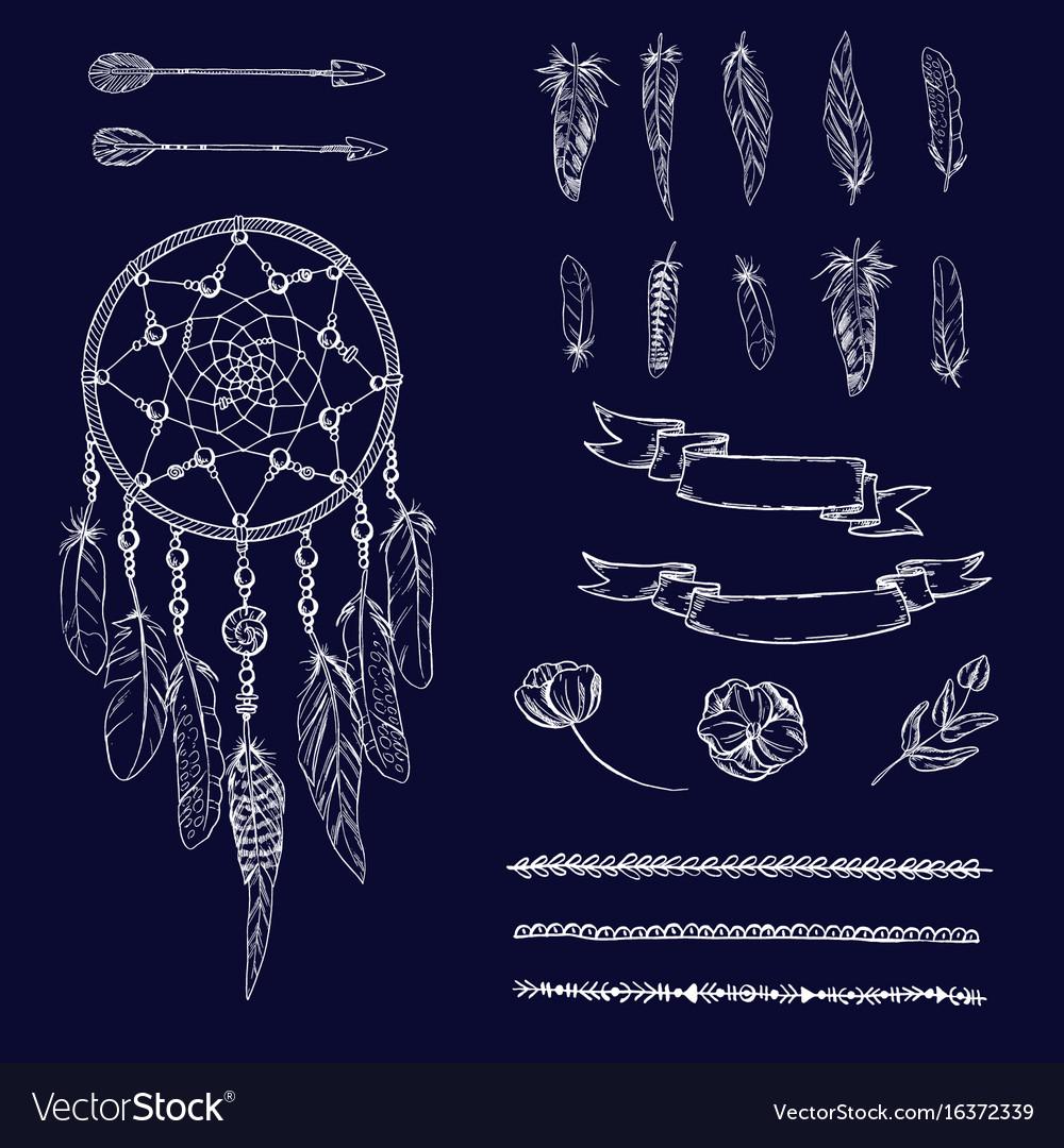 Set of hand drawn ornate dreamcatcher flowers