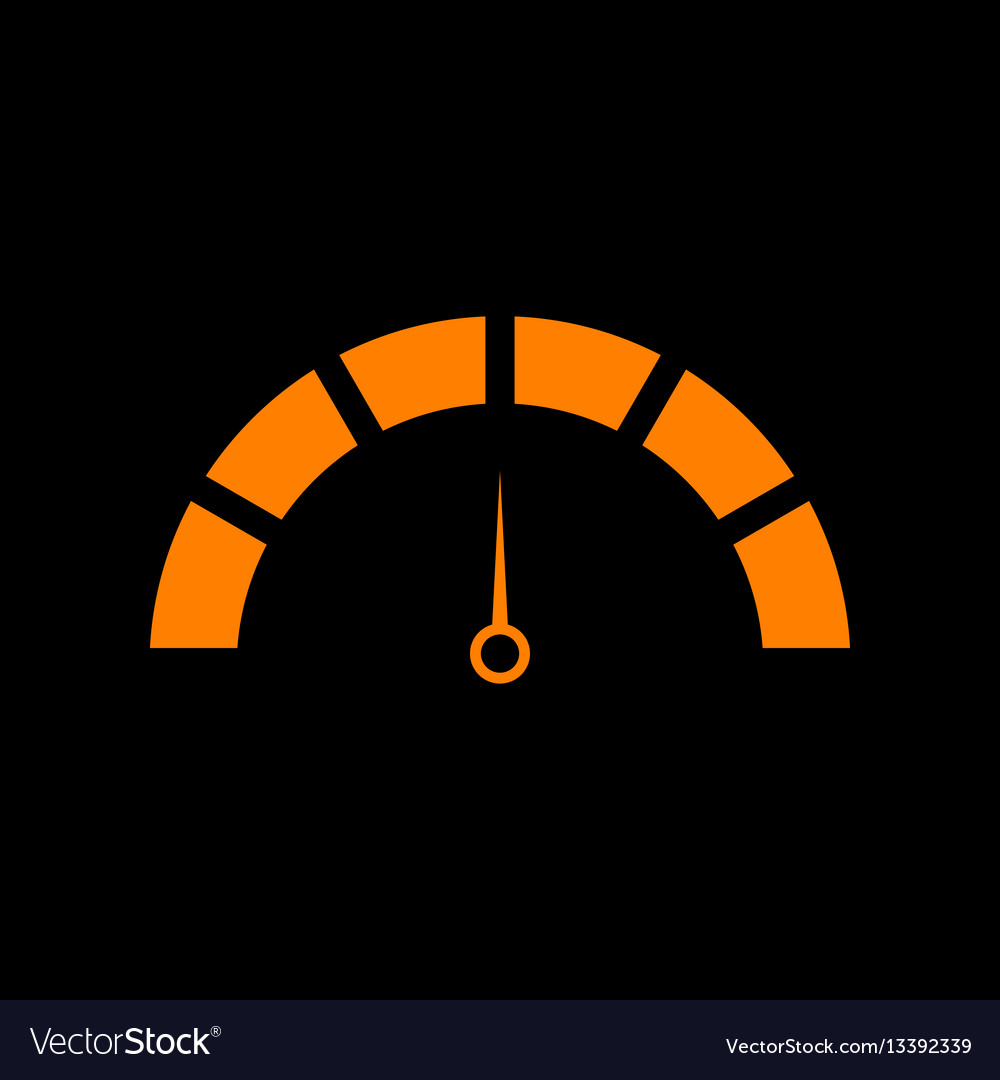 Speedometer sign orange icon on