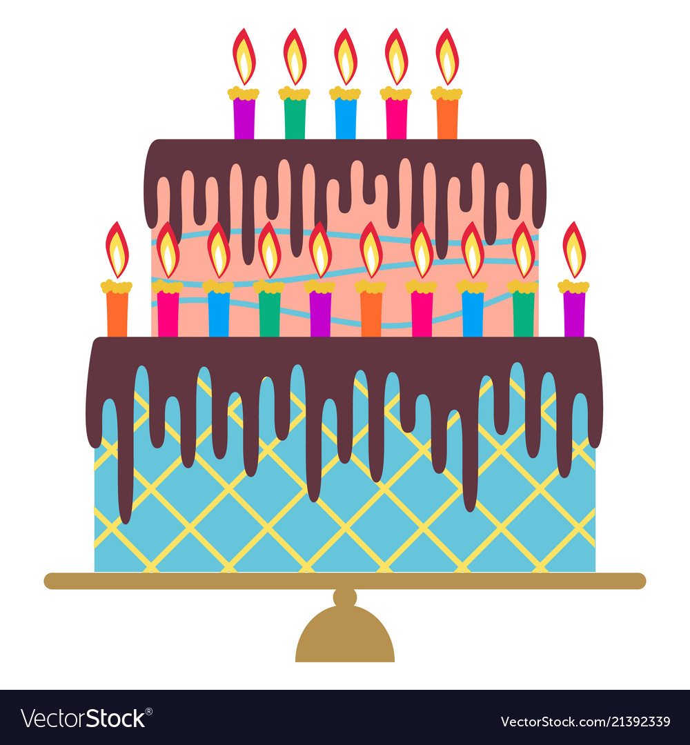 Sweet birthday cake with fifteen burning candles