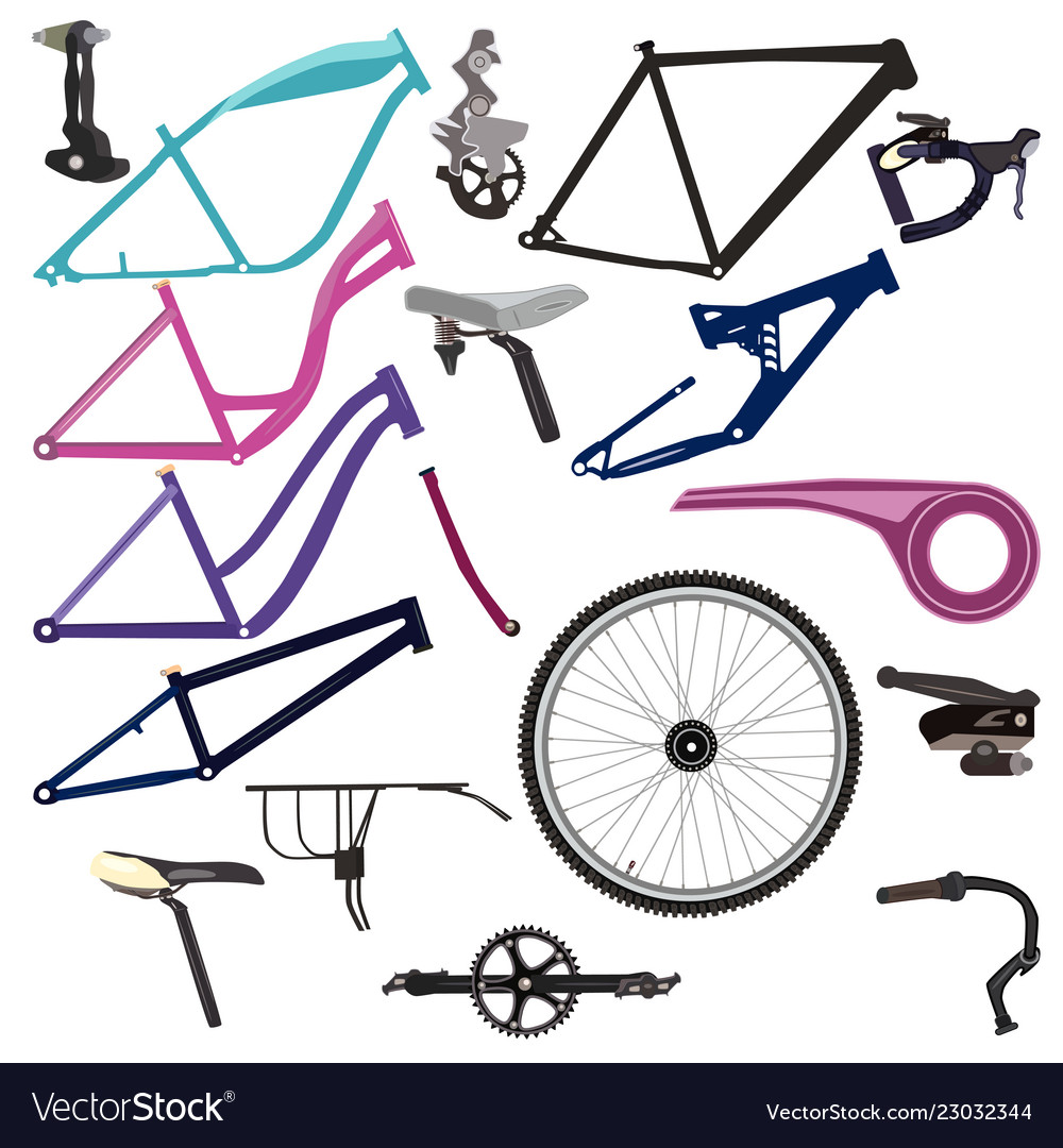 Bike Parts And Cycling Equipment Royalty Free Vector Image