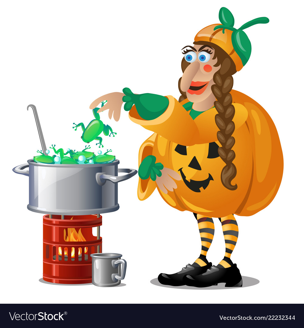 Forest witch in costume jack-o-lantern brews magic