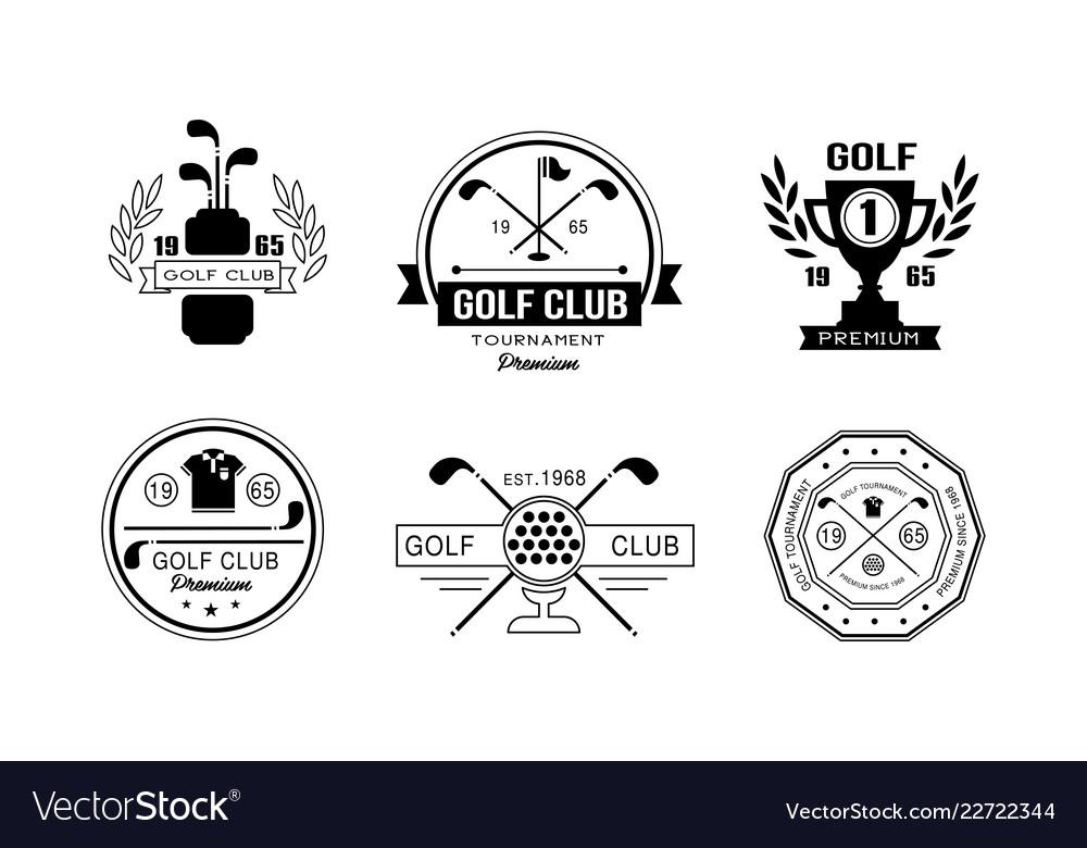 Golf Club Premium Logo Design Set Golfing Club Vector Image