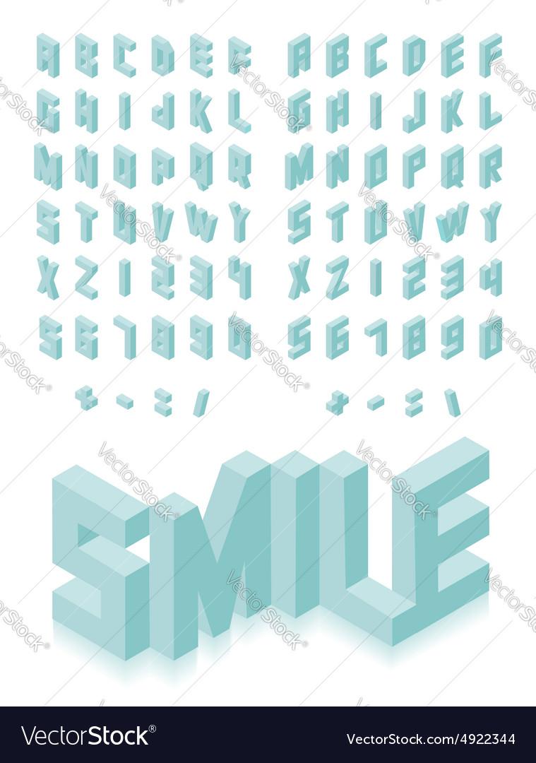 Isometric 3d type font set vector image