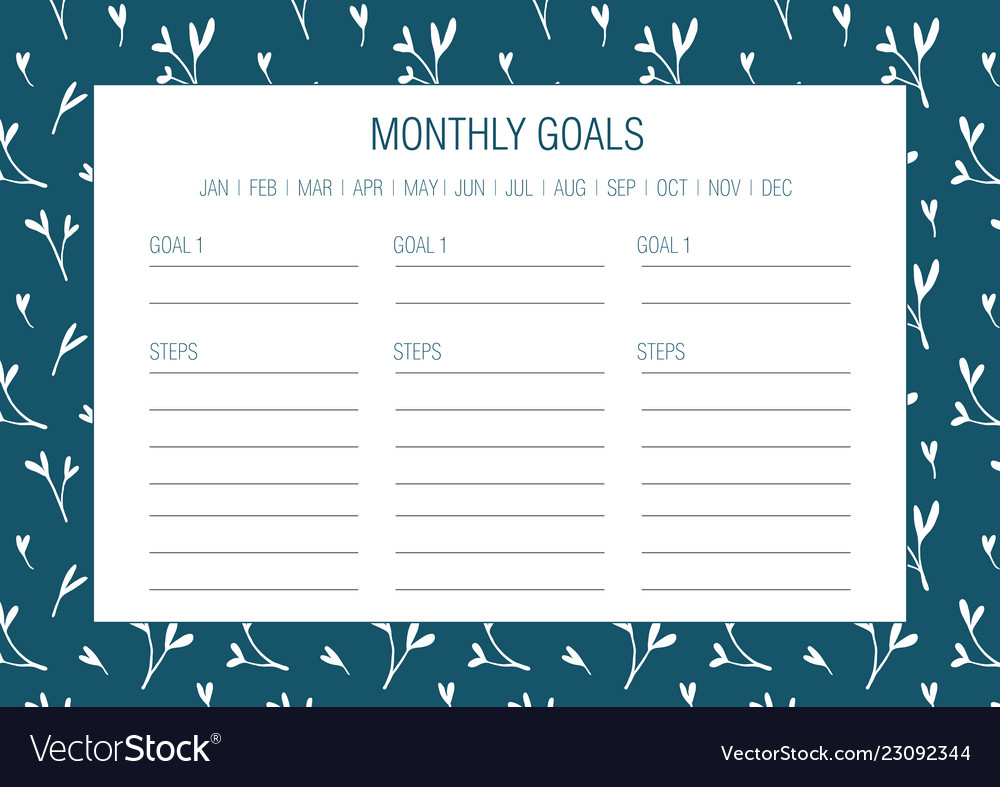 Current image in monthly goals template