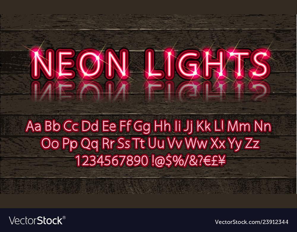 New modern neon set glowing alphabet