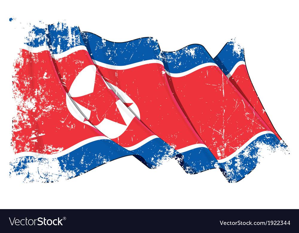 North korea flag grunge