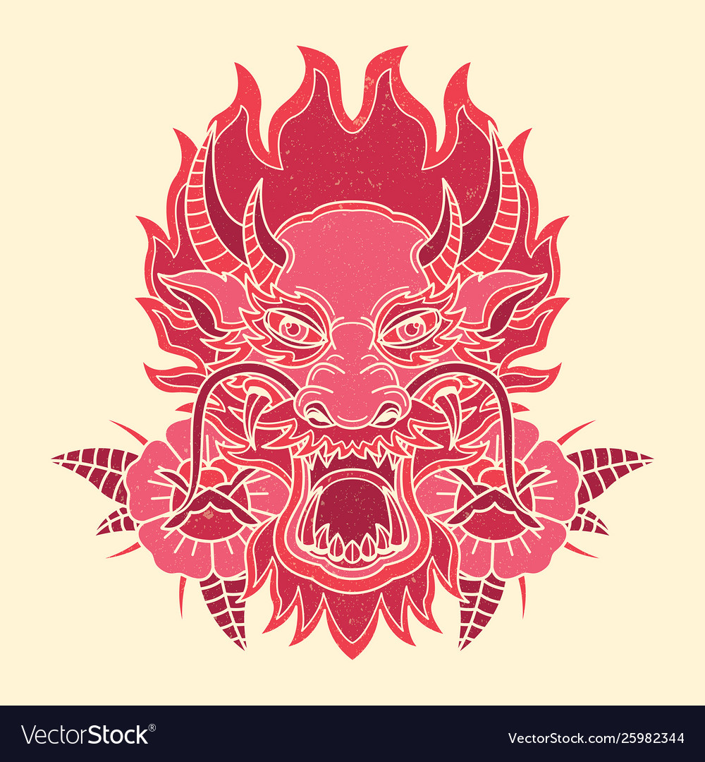 Printvintage dragon tattoo design
