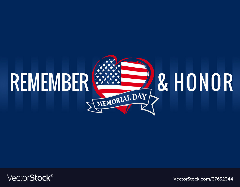 Remember and honor memorial day usa heart blue pos