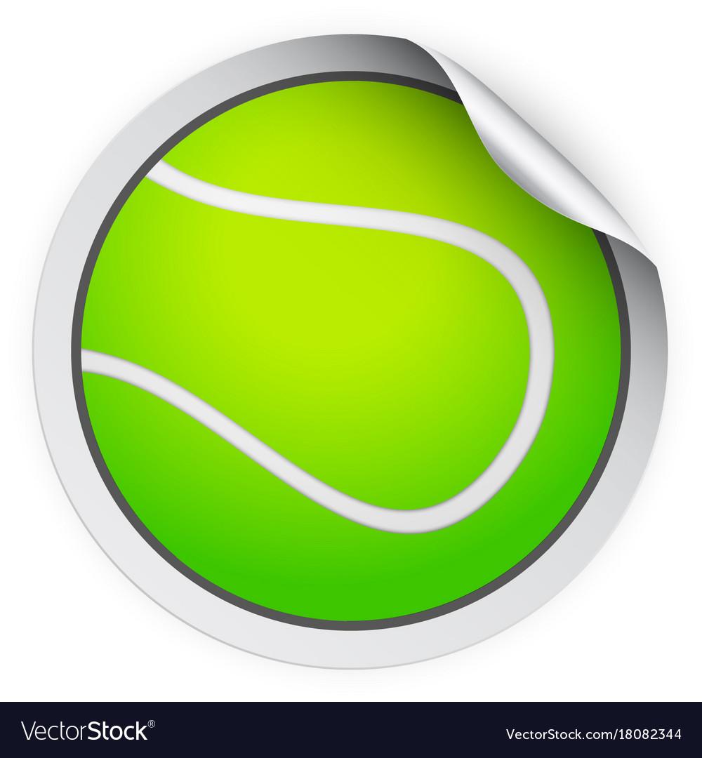 Round sticker with tennis ball