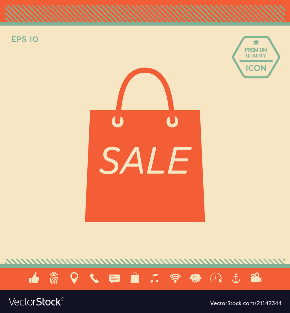 90c38eae3c80 Shopping bag with the sale discount symbol Vector Image
