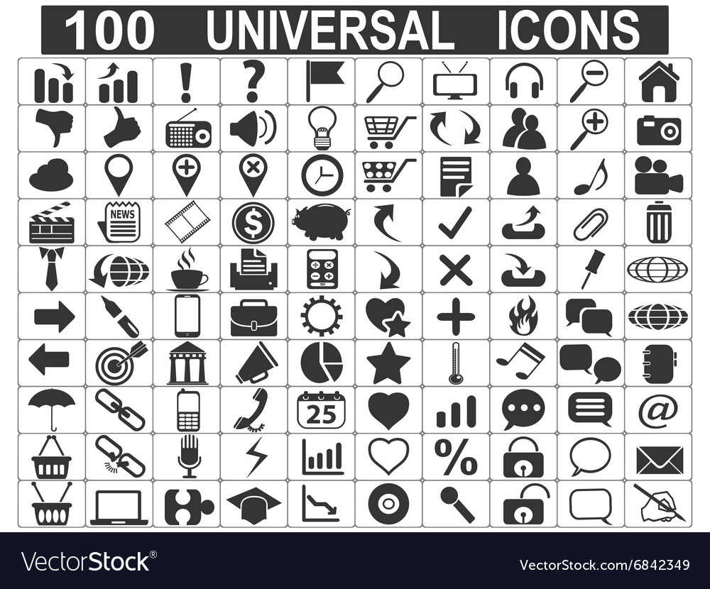 100 universal web icons set vector image