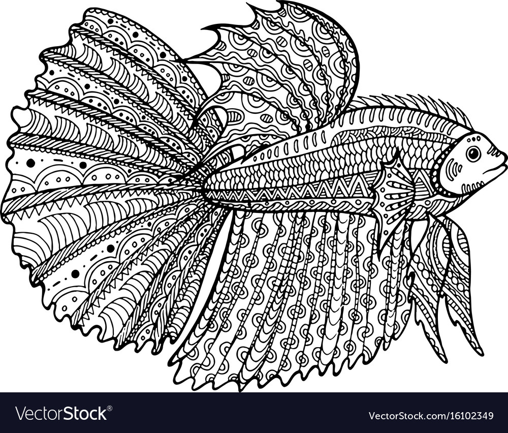 Betta Fish Hand Drawn Coloring Page