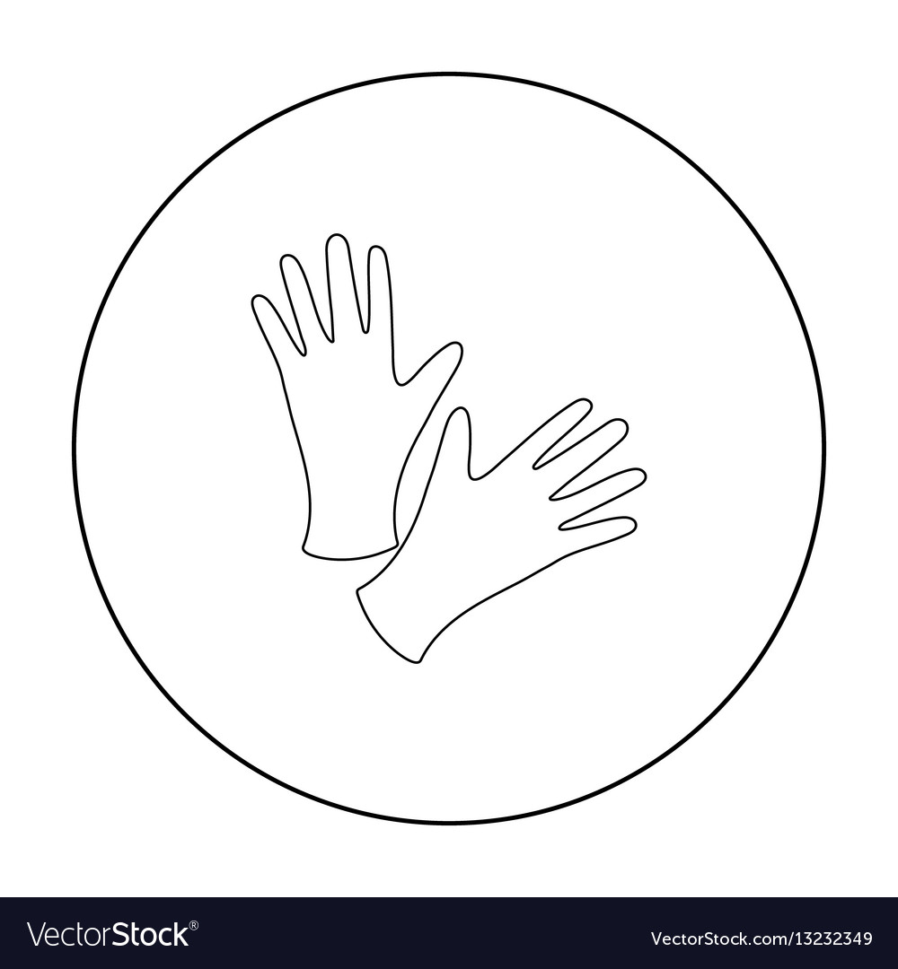 Black protective rubber gloves icon outline