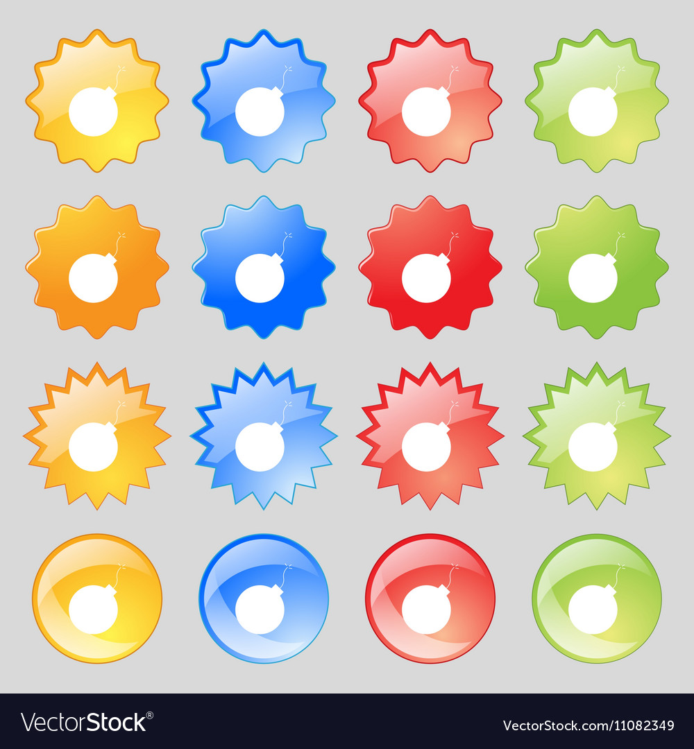 Bomb icon sign Big set of 16 colorful modern vector image