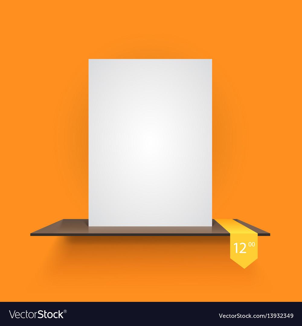Book shelf on light orange background
