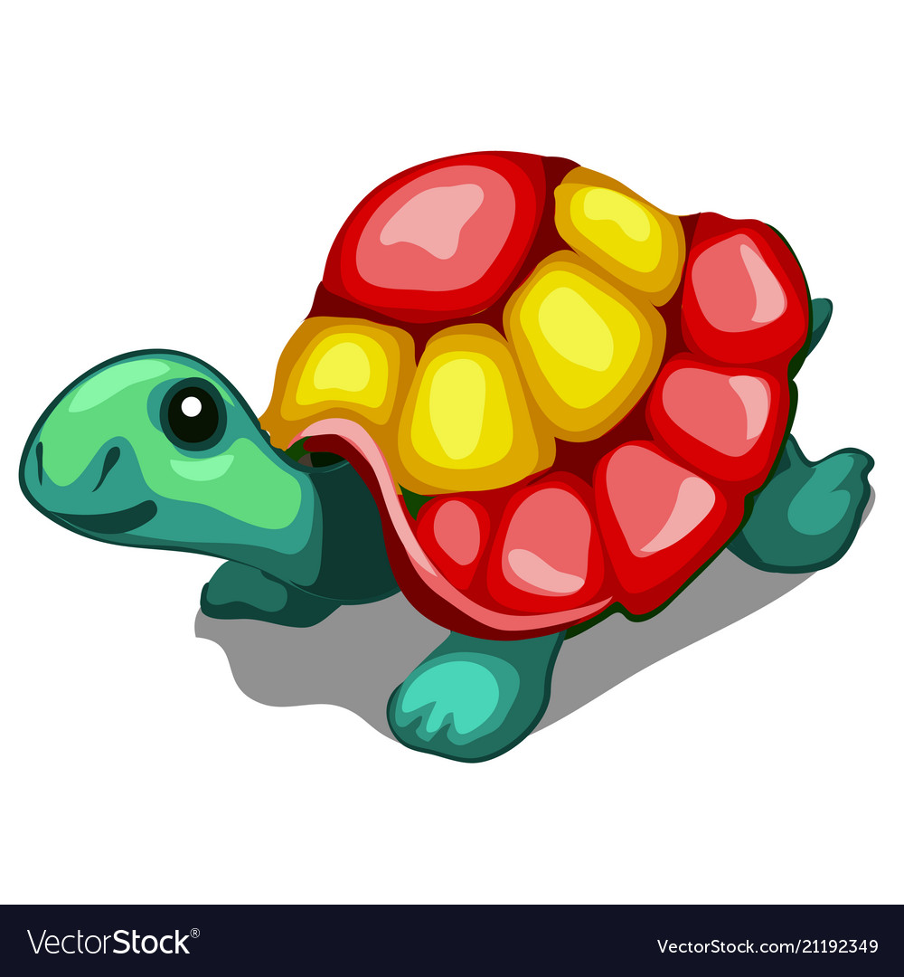 Brightly painted figurine of a turtle isolated on