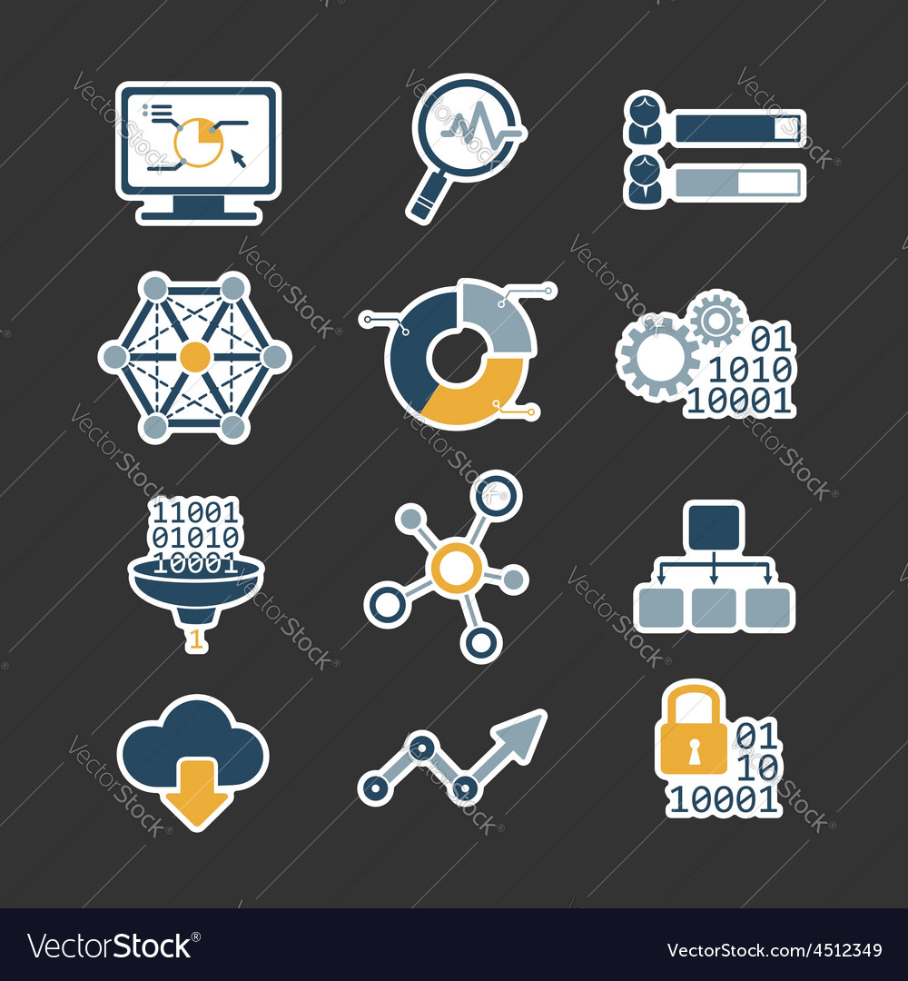 Business data analytic flat style icons set
