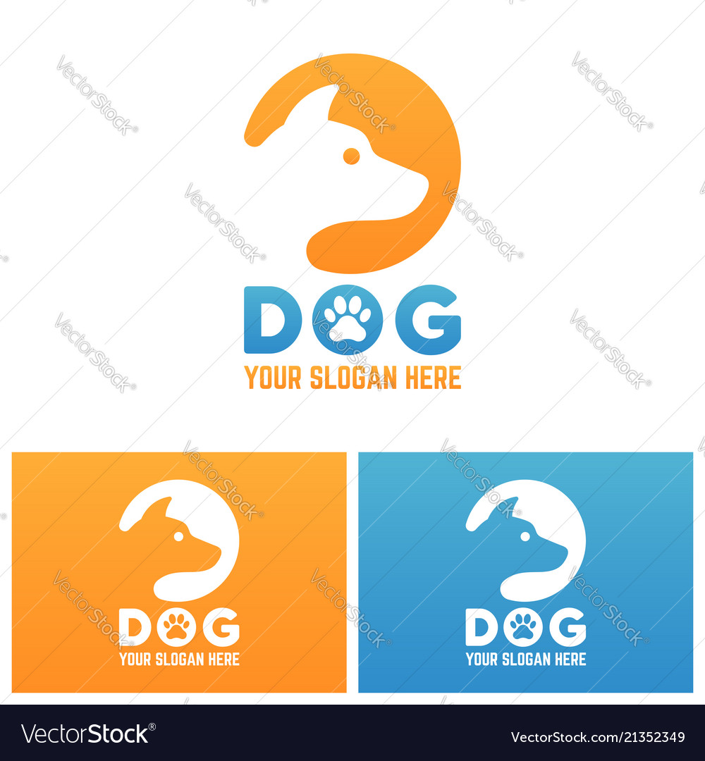 Dog silhouette in circle isolated logo