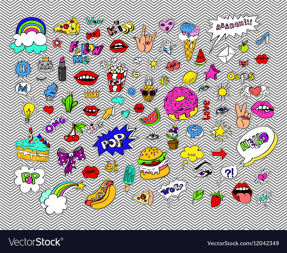 Fashion modern doodle cartoon patch badges or