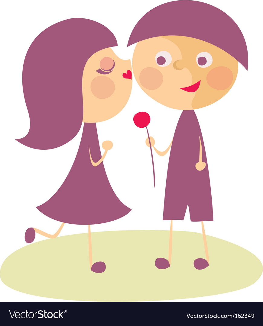 Girl kissing boy vector image
