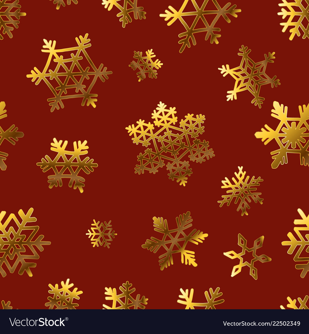 Gold snowflakes on red for gift box papper pattern