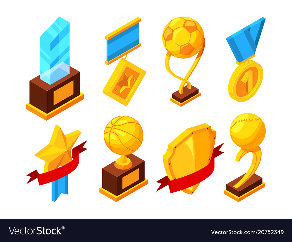 Isometric set of sport trophy