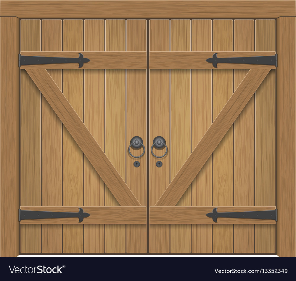 Old wooden closed gate vector image