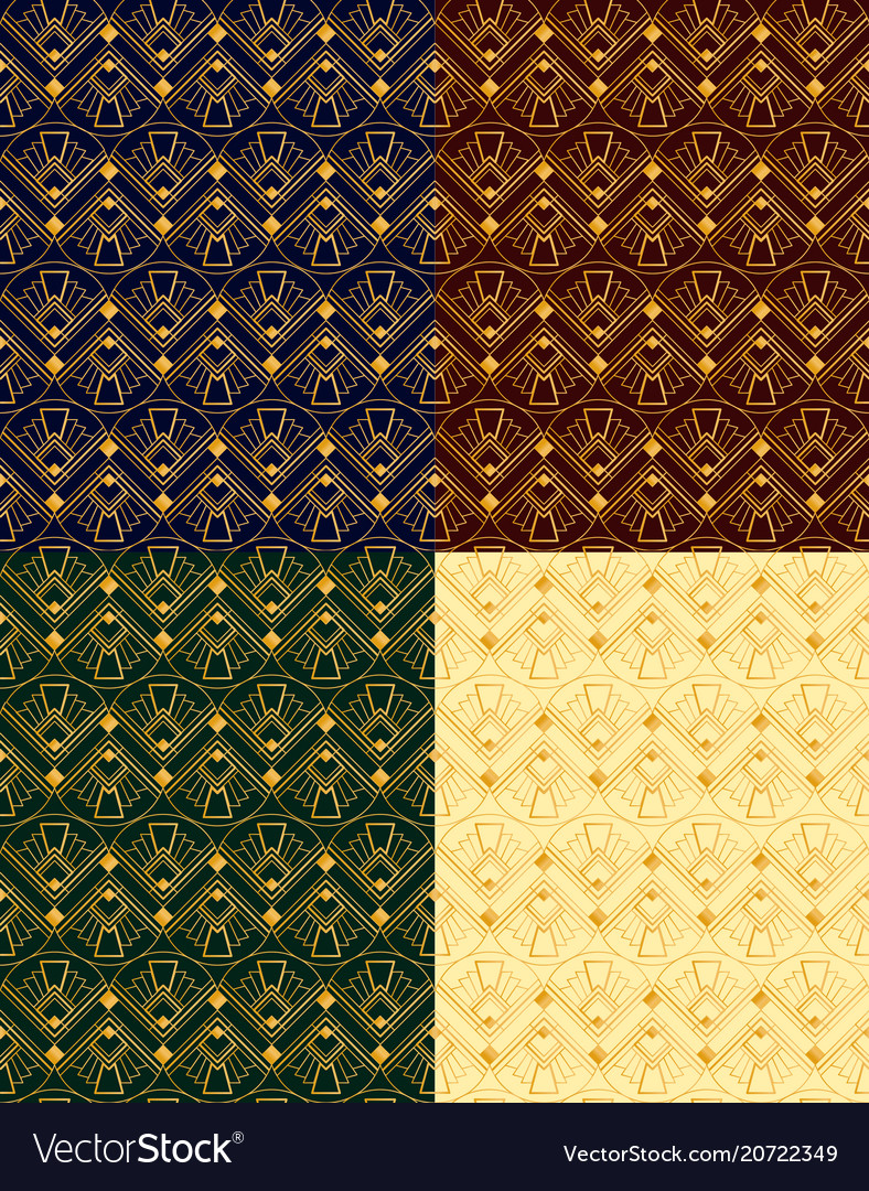 Set of seamless golden vector image