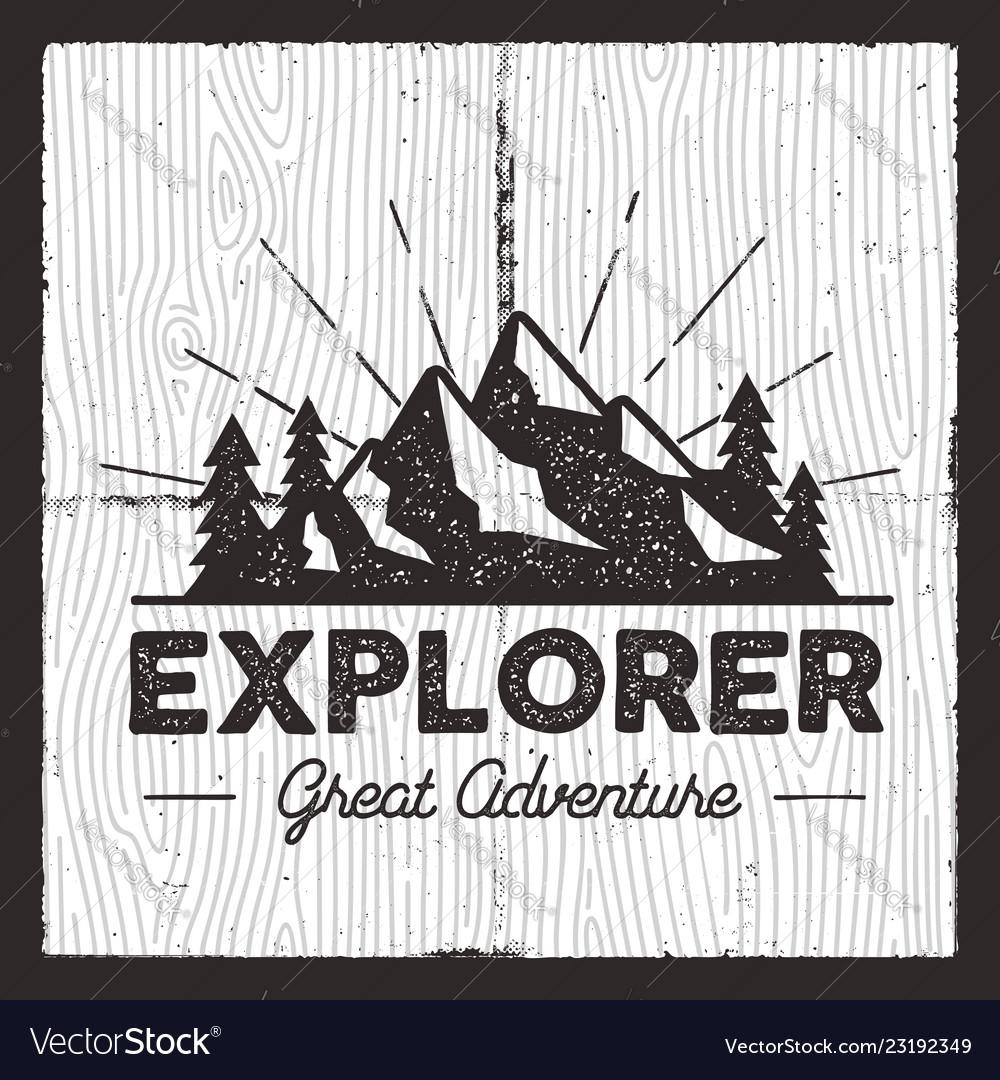 Wanderlust camping badge old school hand drawn t