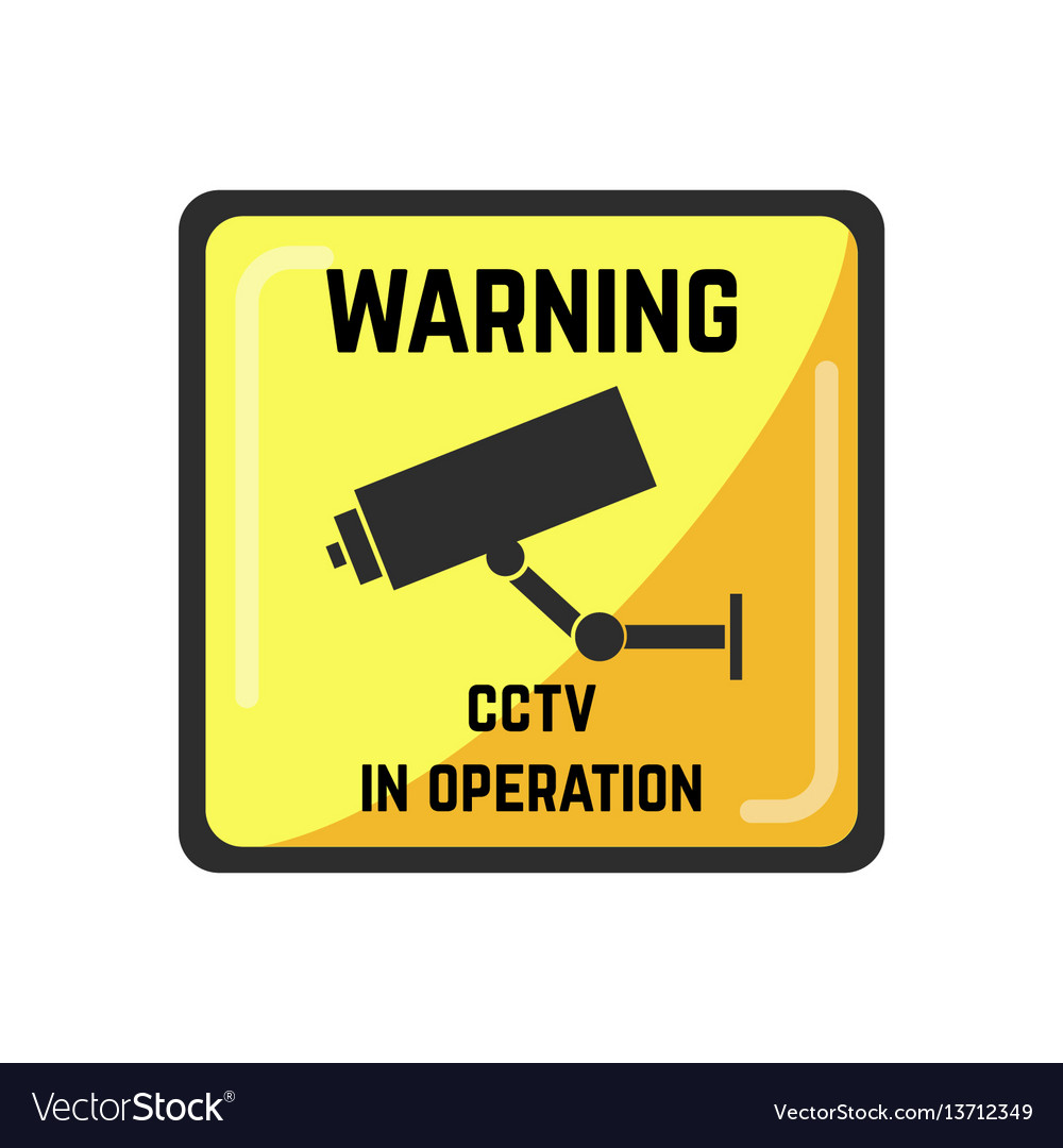 Warning yellow square sign of cctv in operation vector image