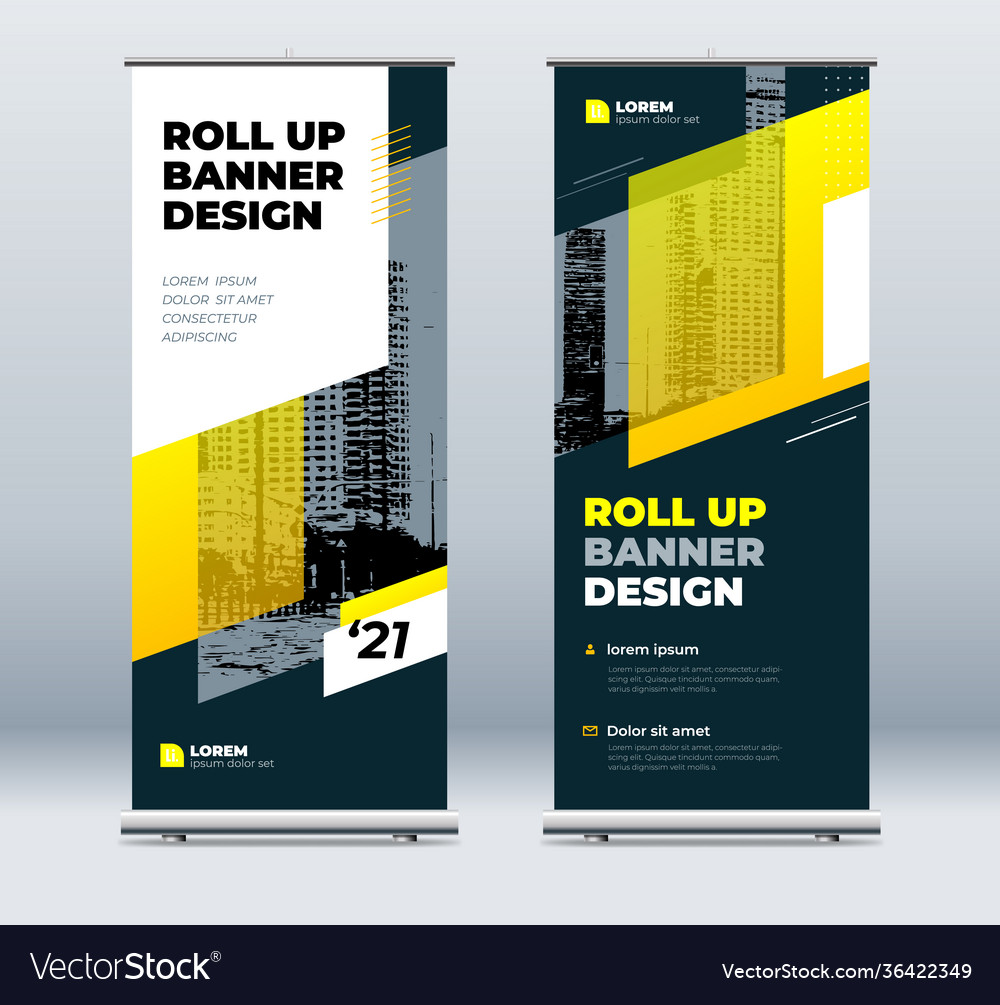 Yellow business roll up banner abstract roll up