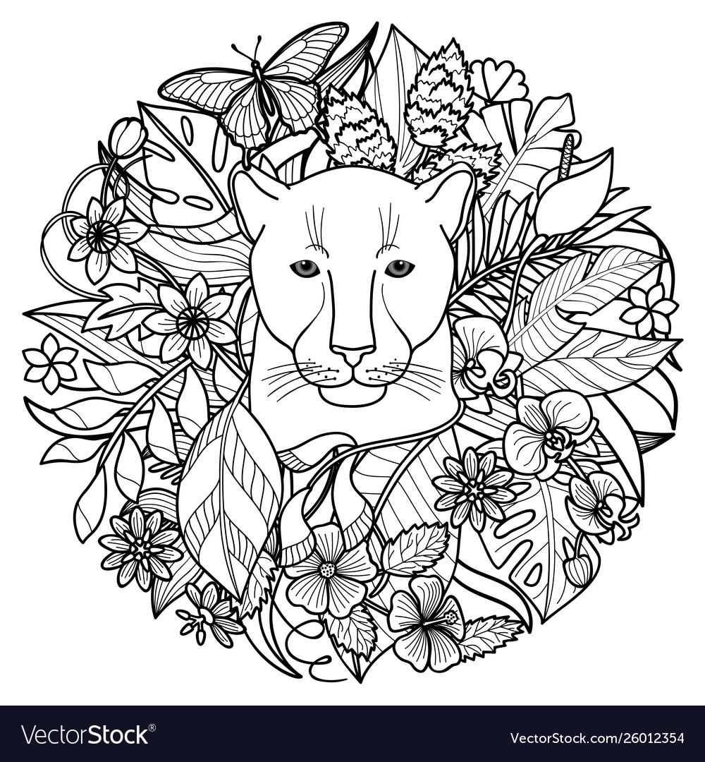 A panther and plants tropical coloring page Vector Image