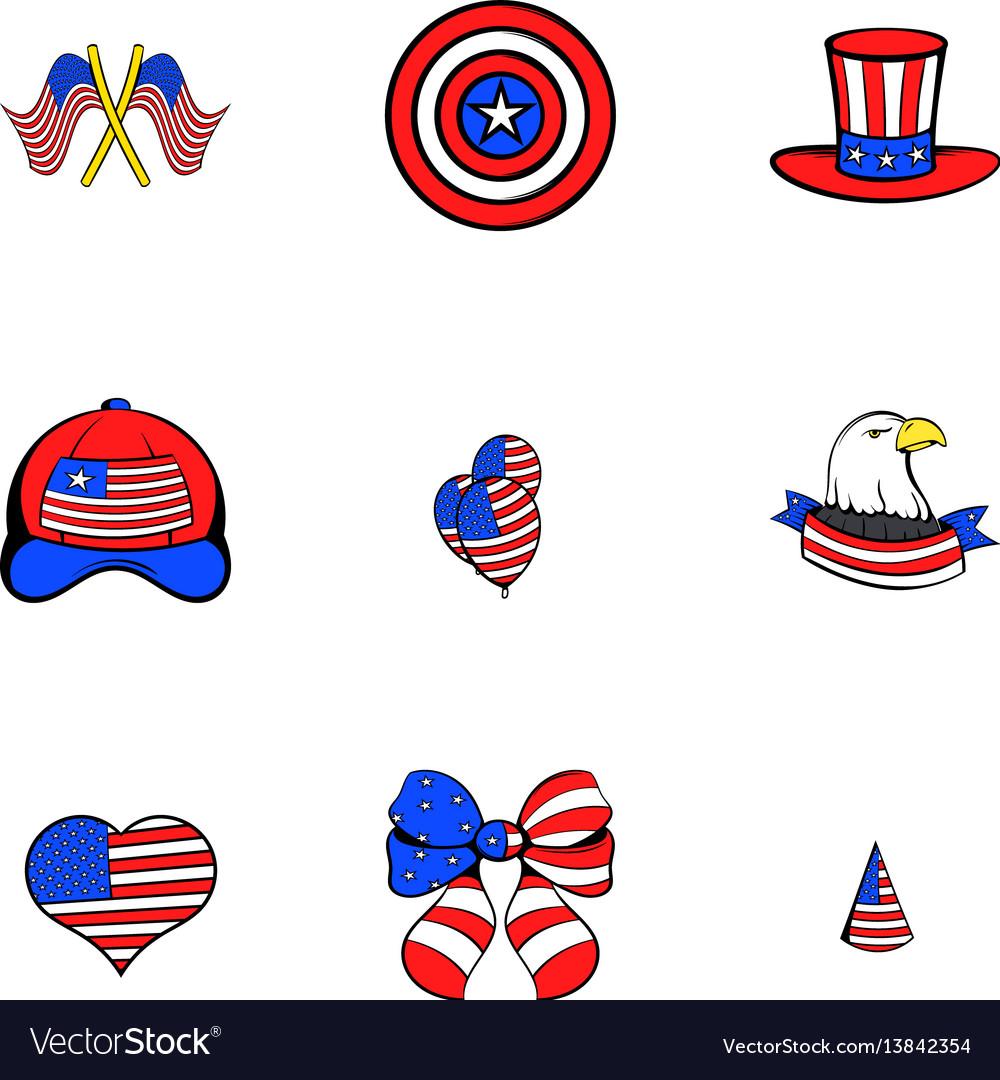 America icons set cartoon style