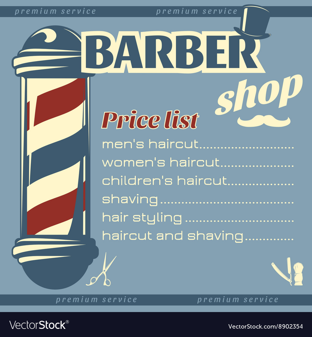 Barber Price List Template Vector Image