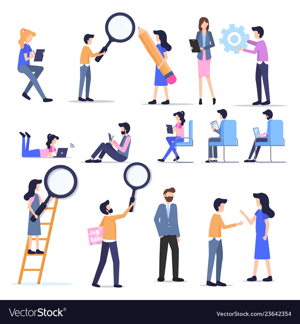 Business freelance people casual character set