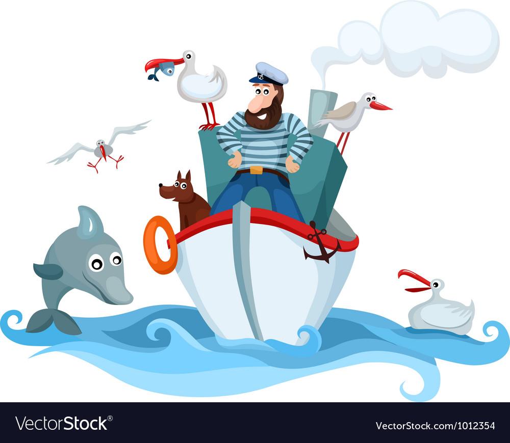 Новым год, корабль и капитан открытка