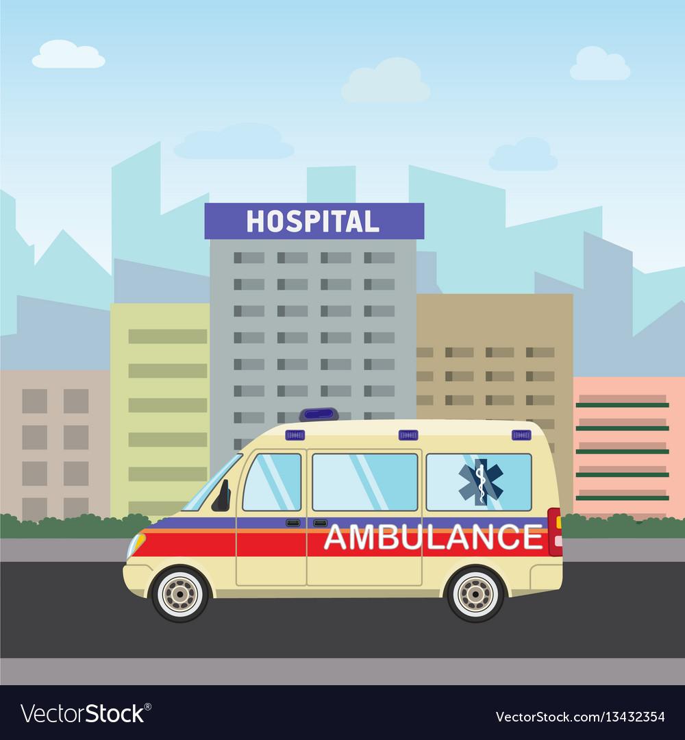 City hospital building with ambulance flat design