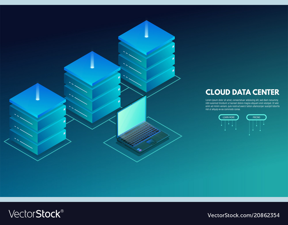 Data center isometric banner with laptop and