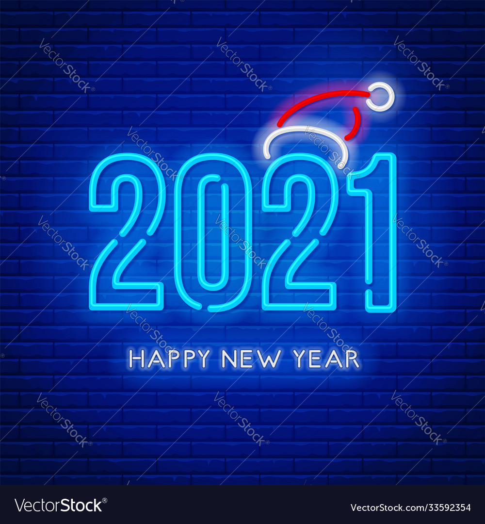 Happy New Year 2021 Neon Lettering Royalty Free Vector Image