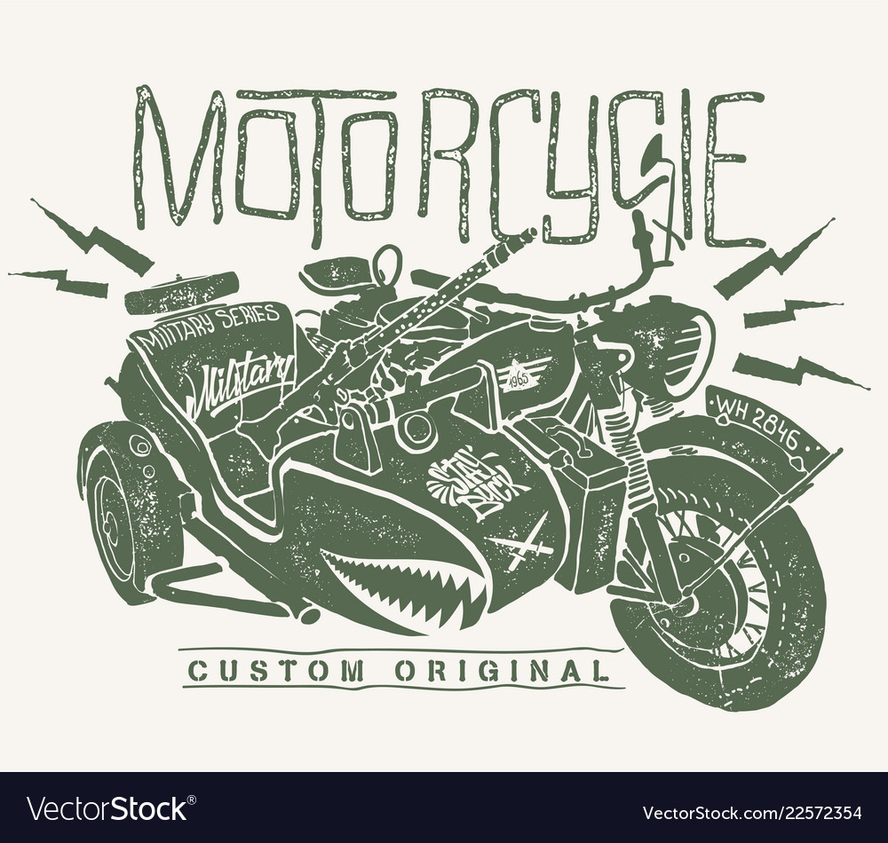 Military motorcycle whith sidecar hand drawn