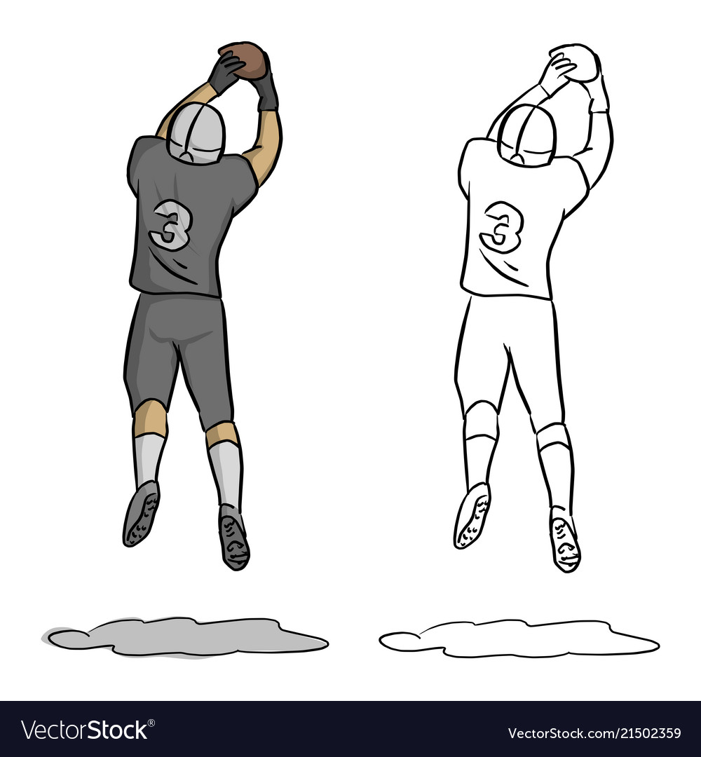 American football player number three jumping