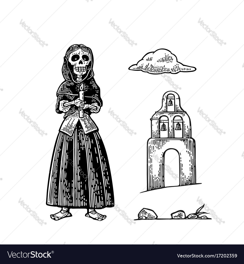 Church and skeleton in mexican woman national