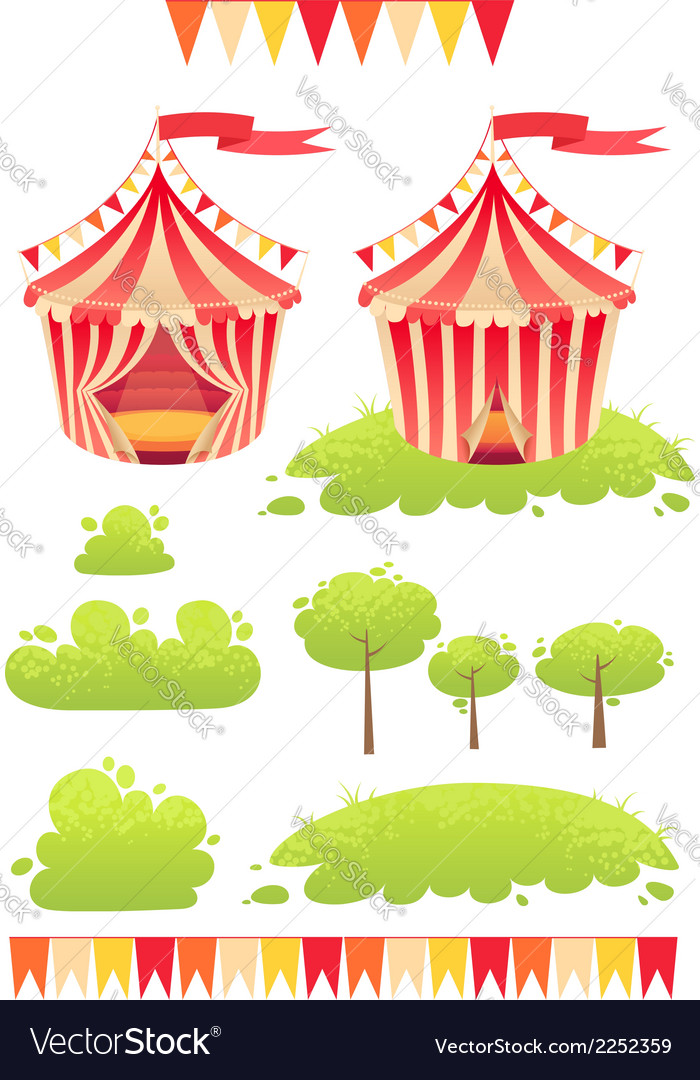 Cute cartoon tent show circus with set of banners