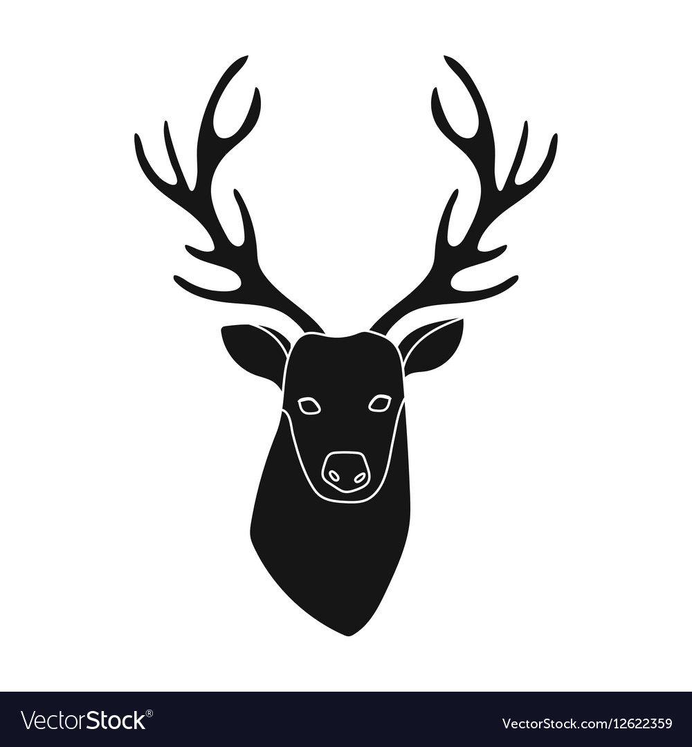 Deer head icon in black style isolated on white
