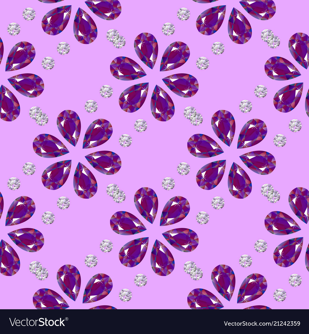 Flowers from precious stones seamless pattern