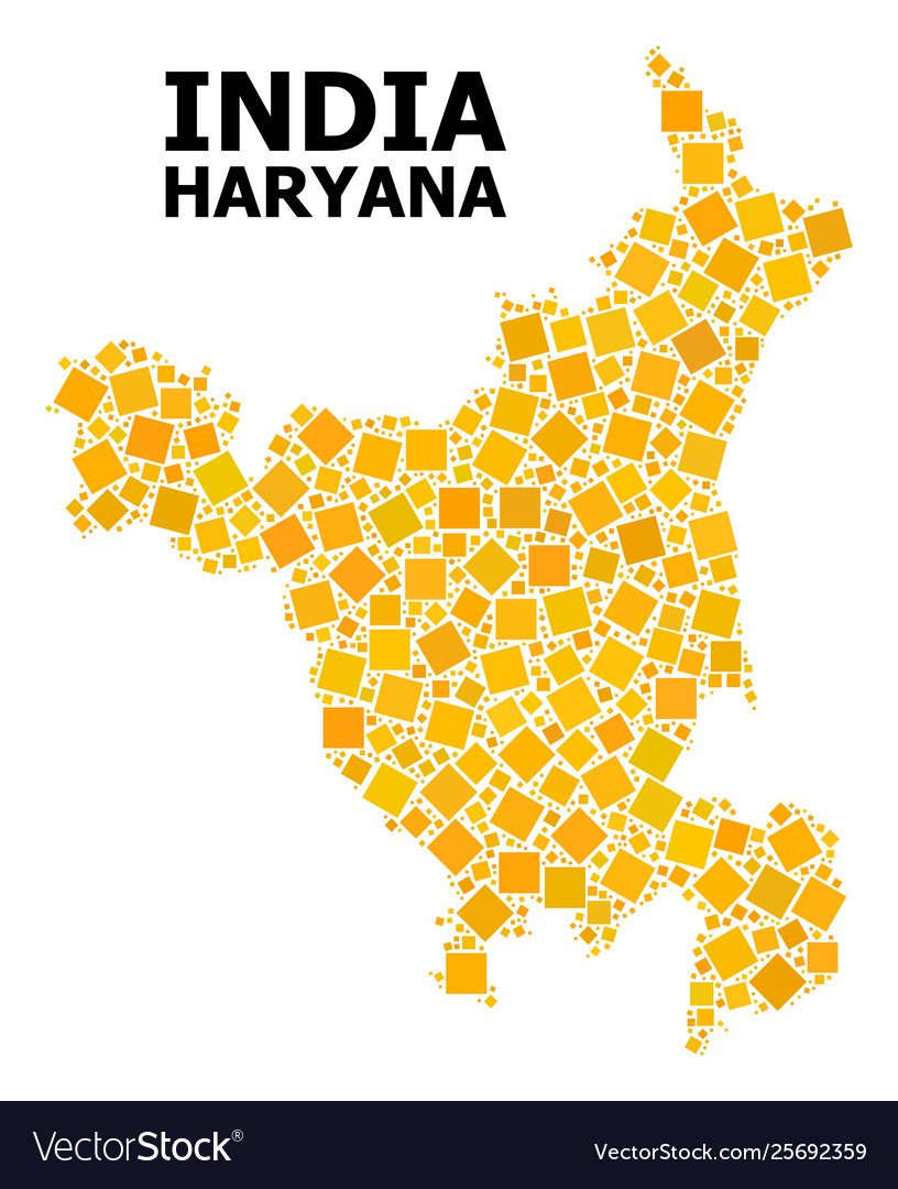 Golden rotated square pattern map haryana state